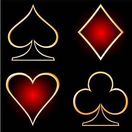 joker card:  Gold cards on a black background
