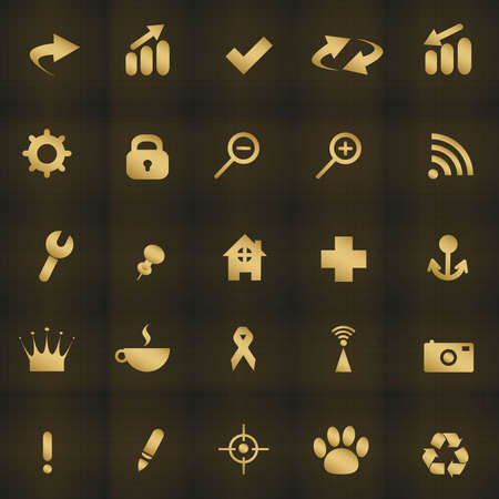 Icons web on a dark background Vector