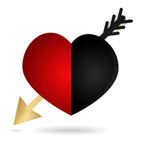 red and black heart with an arrow stuck on a white background. Stock Vector - 16921731