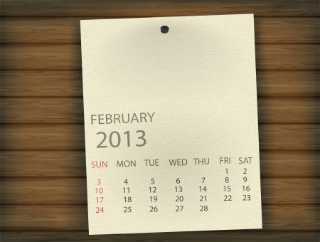 February 2013 Calendar paper on wood Stock Vector - 17607364