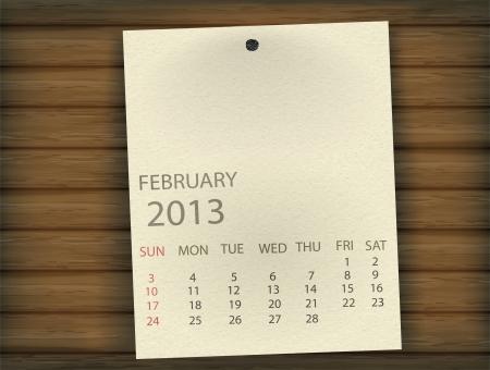 February 2013 Calendar paper on wood Stock Vector - 17607364