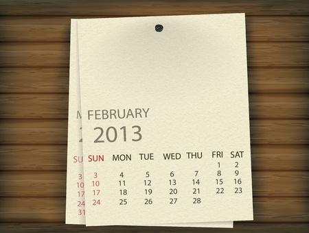 Februari 2013 Kalender papier op hout