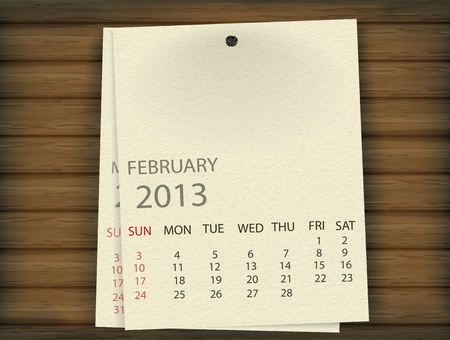 February 2013 Calendar paper on wood Stock Vector - 17607365
