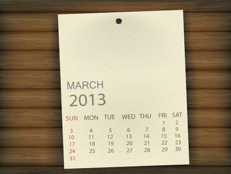 Calendar 2013  march ,the second option   vector Stock Vector - 17779604