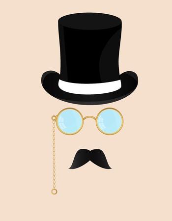 Man met een bril en een snor Stock Illustratie