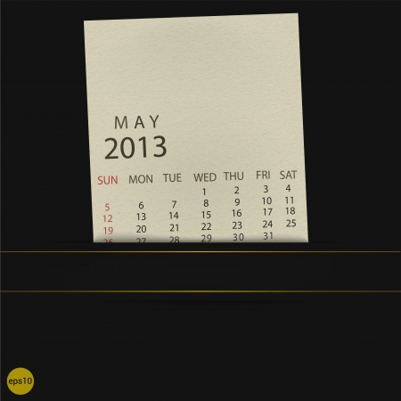 May 2013 Calendar paper Vector
