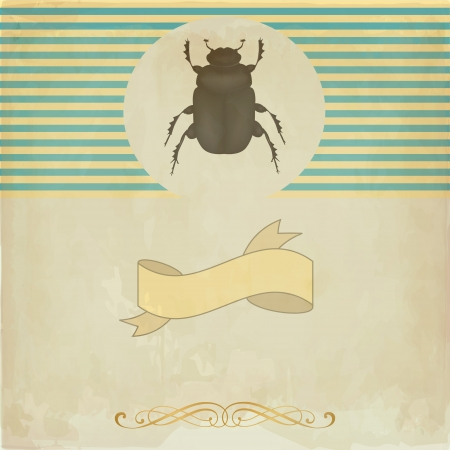 ecoration: Vintage card with the scarab beetle Illustration