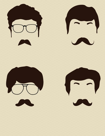 traits: Set Man with glasses and a mustache Illustration