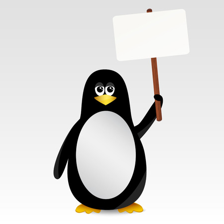 Penguin with a sign