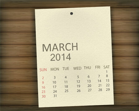 Calendar paper on wood Vector