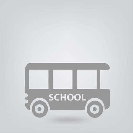 multi ethnic group: school bus icon Illustration