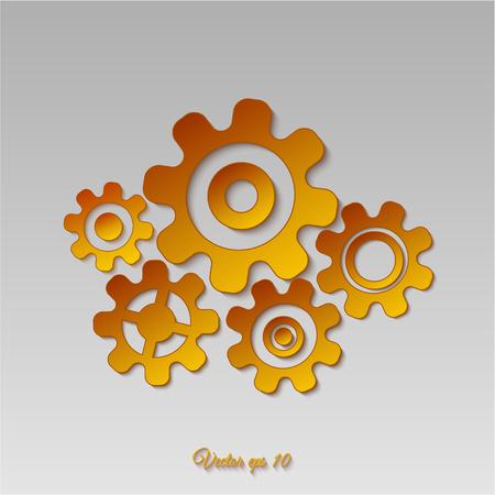 Gold gears icon Illustration