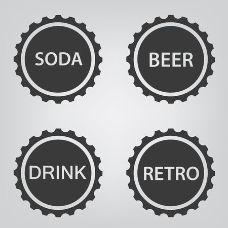 bottle cap icon set. Vektorové ilustrace