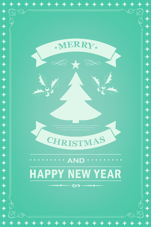 Christmas party invitation retro typography and design decoration. Christmas holidays flyer or poster design. Vector illustration