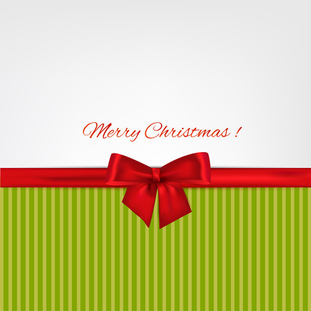 ribbon with bow on background. Vector illustration. Christmas background.