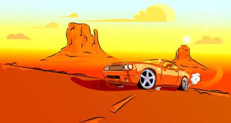 Orange car rushing down the road