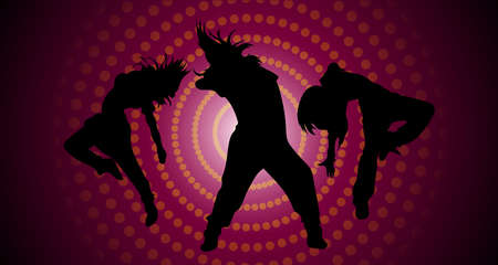 Silhouettes of dancing girls 일러스트
