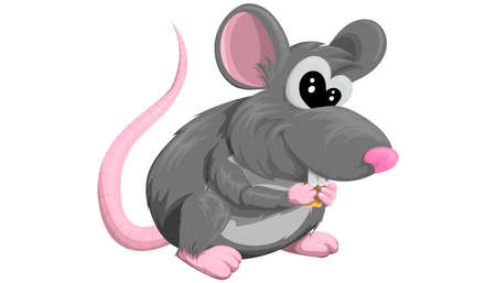 Rat. Isolated vector painted in a flat style on a white background. Nice mouse. Animal, rodent. Year of the rat. Chinese horoscope.