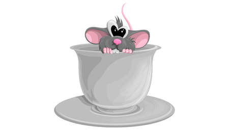 Cute mouse sitting in a ceramic cup, funny animal cartoon character vector Illustration on a white background