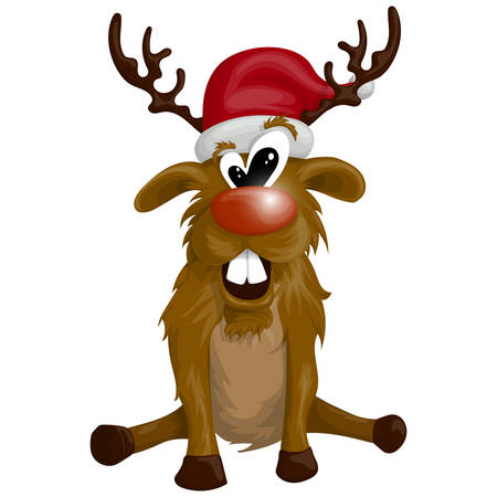 vector christmas illustration of reindeer