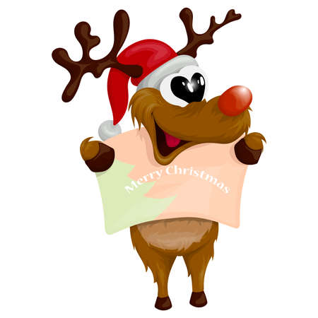 Vector illustration of a funny and cheerful reindeer in a Christmas hat in cartoon style. 스톡 콘텐츠 - 138365962