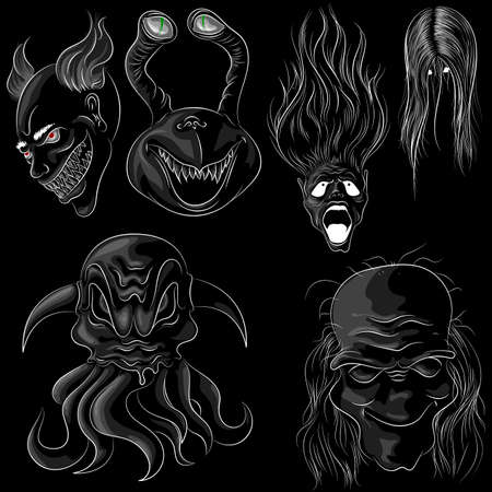Set of six ghosts in cartoon style on a black background