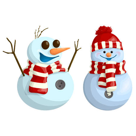Two cute and funny snowmen in cartoon style