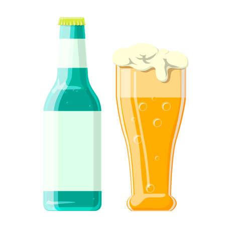 Vector illustration of beer bottle and glass Illusztráció