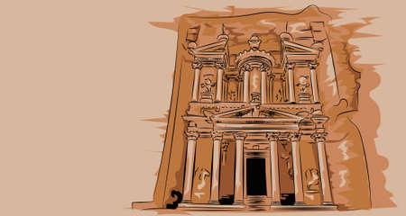 Vector illustration of Temple of El-Khazneh, Jordan