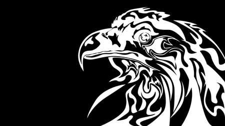 Abstract black and white eagle styling Illusztráció