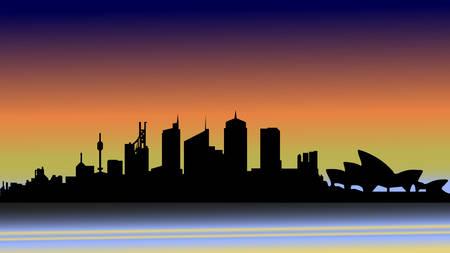 Evening Sydney in silhouette. Illustration