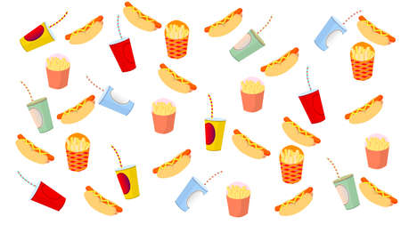 French fries, hot dog and drink on white background. Fast food: Cola, french fries, hamburger, hot dog, Set of cartoon vector food icons isolated on white background. pizza
