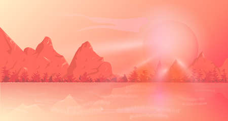 Mountain background is a coral color Ilustrace