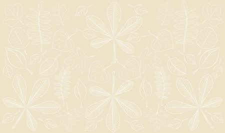 Patterned vector illustration of foliage on beige background