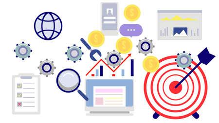 Vector illustration. Business teamwork concept. Icons words typography and symbol of teamwork leadership effort hard work team strategy Illusztráció