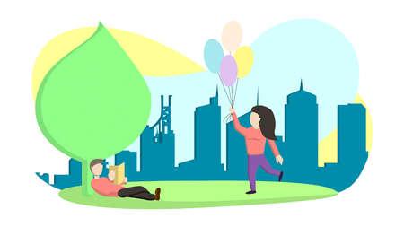 Walk in the city park Illustration