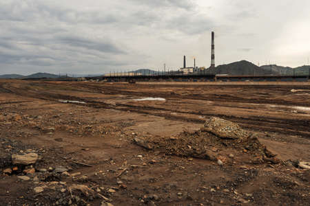 Open pit mine and power plant. HDR - high dynamic range Stock Photo