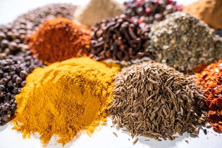 Different spices set on white background. Standard-Bild - 130773249