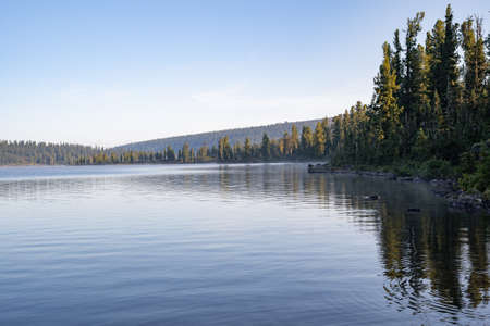Beautiful mountain lake with pine trees and green grass on shore in front of hills during sunset, Ergaki national park, Siberia, Russia
