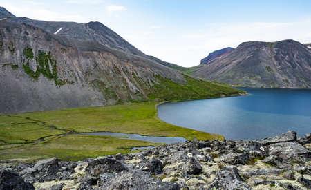 The picturesque lake Ketachan in Kamchatka, Russia. Bystrinsky National Park, near the volcano Ichinskaya Sopka.