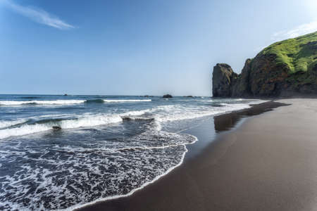 The coast of the Pacific Ocean on the Kamchatka Peninsula, Russia. Sea waves rolls on the stretching black volcanic sand beach. Nature, travel and adventure concept. Zdjęcie Seryjne