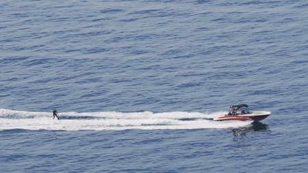 Water skiier going very fast on Mono ski in Sea Zdjęcie Seryjne