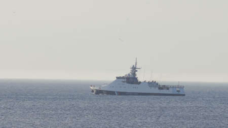 Ship of the Russian Coast Guard. Concept - violation of the maritime border, the border of the Russian Federation