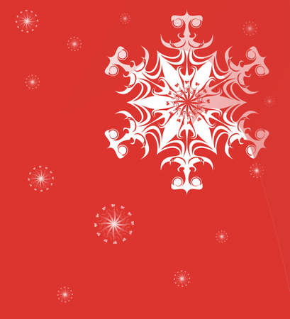 Beautiful picture white snowflake on a red background.  photo