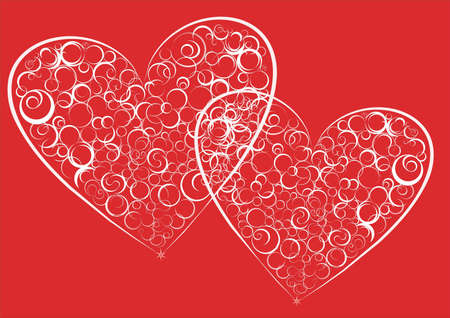 Vector picture of two hearts on a red background.