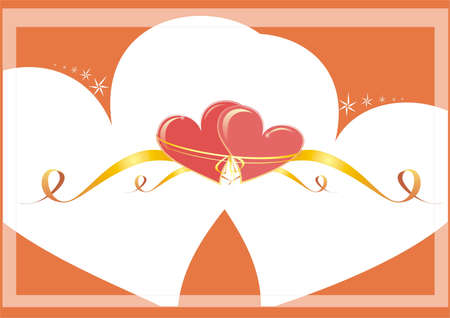 single coil: Vector picture of two hearts with tapes. Two red hearts on a white-yellow background a picture by day of Valentine Stock Photo