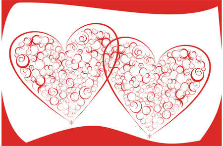 Two red hearts on a white-red background a picture by day of Valentine Stock Photo