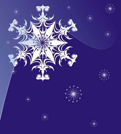 Snowflake on a dark blue background a vector picture photo