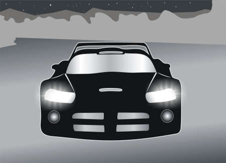 The vector image of the sports car with burning headlights. Stock Photo