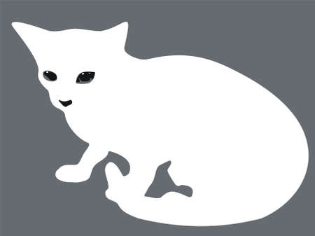 Vector illustration with the image of a silhouette of a cat. Vector